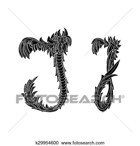 Abstract Letter J Logo Icon Black And White Design Clipart