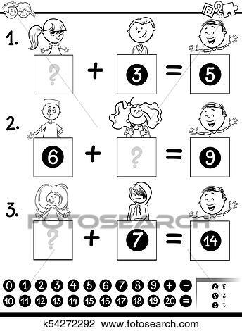 Clipart - adición, educativo, juego, colorido, página, con, niños ...