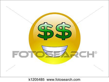 stock illustration of aqua emoticons dollar signs k1205485