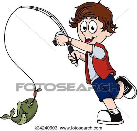 clipart of boy fishing k34240903 search clip art illustration rh fotosearch com boy fishing clip art free baby boy fishing clipart