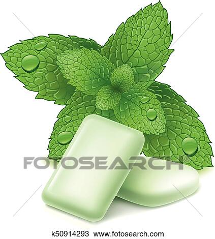 beede2901857 Clipart - chewing gum with fresh mint leaves. Fotosearch