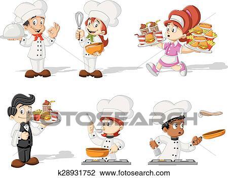 Clipart Dessin Anime Chefs Cuisine K28931752 Recherchez Des