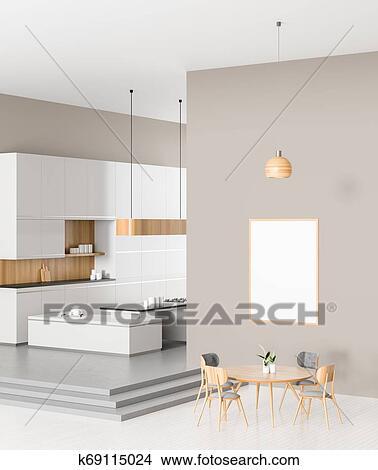 Espacioso, moderno, cocina, diseño, con, cenar, mesa., 3d, illustration.  Colección de ilustraciones