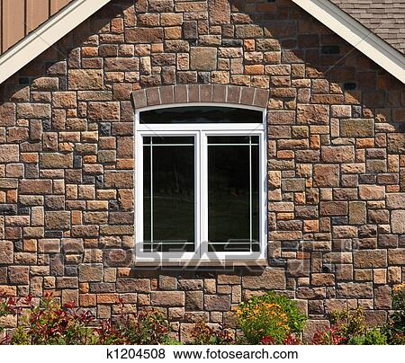 Stone Wall With Win Stock Ilration