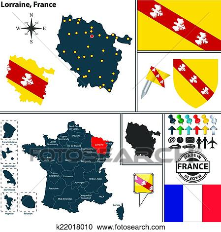 Clipart Of Map Of Lorraine France K22018010 Search Clip Art
