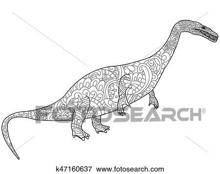 Clip Art - Nothosauru, feuerdrachen, färbung, vektor, für ...