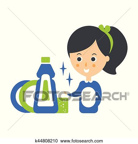 Reinigung, service, mädchen, und, sauber, geschirr, putzen, firma,  infographic, abbildung Clipart
