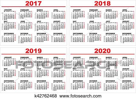 Calendar 2020.Set Grid Wall Calendar For 2017 2018 2019 2020 Clip Art