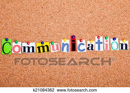 Stock photo of the word communication in cut out magazine letters stock photo the word communication in cut out magazine letters pinned to a c spiritdancerdesigns Choice Image