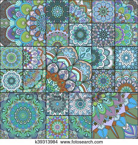 Dibujos Turquesa Azulejos De Diferente Tamano K39313984 - Azulejos-con-dibujos