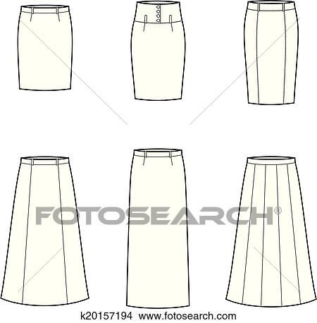 スカート クリップアート切り張りイラスト絵画集 K20157194