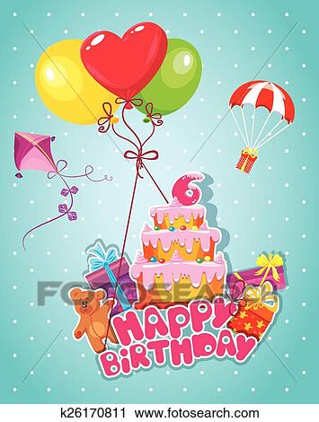 Clipart Of Baby Birthday Card With Teddy Bear Balloons Big Cake