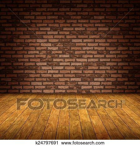 Wood And Wall.Brick Wall And Wooden Floor Clip Art K24797691 Fotosearch