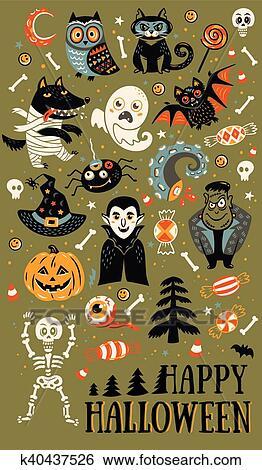 Ensemble De Dessin Animé Caractères Et éléments Pour Halloween Clipart