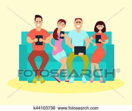 Friends Sitting On The Couch Clip Art