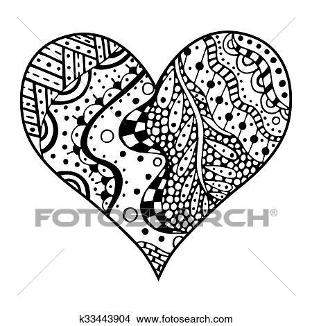 Tekeningen Hartjes In Zentangle Stijl K33443904 Zoek Clipart