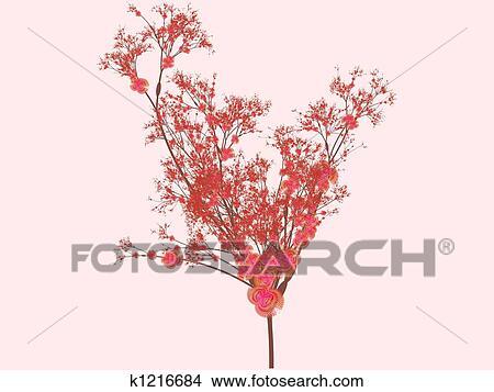 Dibujos Ilustraciones Inspirado Por Flores De Cerezo En Flor
