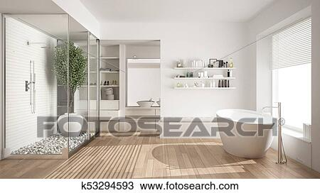 Minimalist white scandinavian bathroom with walk-in closet, classic  scandinavian interior design Drawing