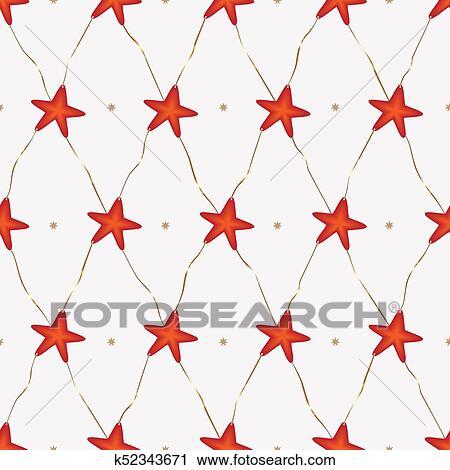Navidad, patrón, unido, estrellas, con, doble, corbatas Clipart