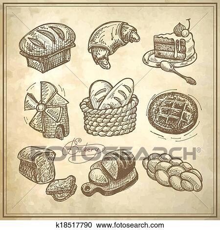 Dessin Boulangerie clipart - numérique, dessin, boulangerie, icône, ensemble k18517790