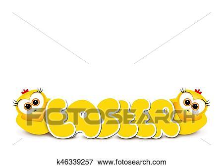 Gelbe Karte Lustig.Osterbilder Karte Design Template Zwei Lustig Gelb Chickens Glücklich Ea Clip Art