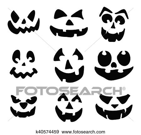 Scary Pumpkin Face Vector Symbol Icon Design Clip Art K40574459 Fotosearch