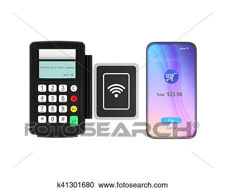 stock illustration smart phone and credit card reader with nfc scanner isolated on white background - Credit Card Swiper For Phone