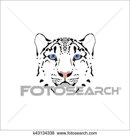 Clip Art Of Snow Leopard Head K43134338 Search Clipart
