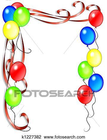 Clipart Anniversaire clipart - anniversaire, ballons, et, rubans k1227382 - recherchez