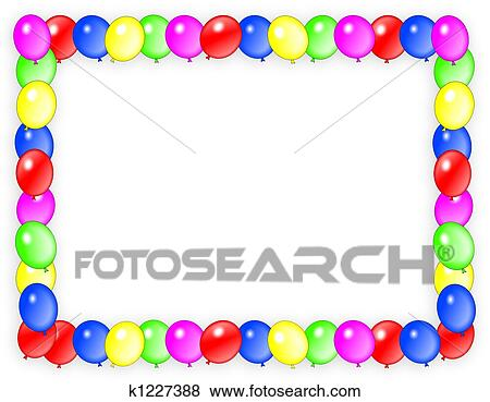 Cadre Anniversaire banque d'illustrations - anniversaire, invitation, ballons, cadre