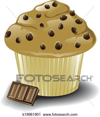 Chocolate Chip Muffin Clip Art K19961901 Fotosearch