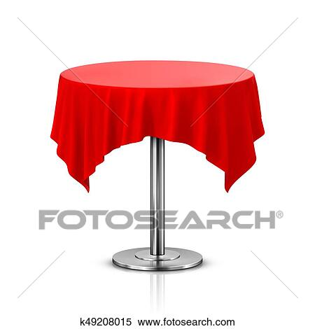 Round Table With Tablecloth.Empty Round Table With Tablecloth Isolated On White Background Stock Illustration