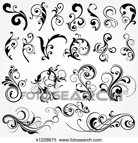 stock illustration of floral design elements k1228675 search Floral Design Photography floral design elements