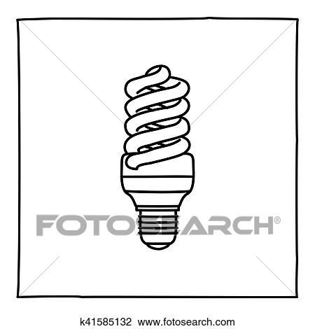 Clipart - gekritzel, wirtschaftlich, glühbirne, symbol k41585132 ...