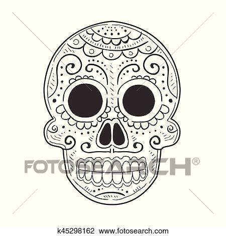Clipart - tradicional, mexicano, pintado, scull, dia, de, muertos ...