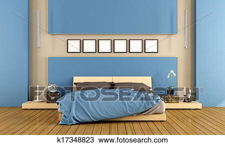 Contemporary blue bedroom Drawing