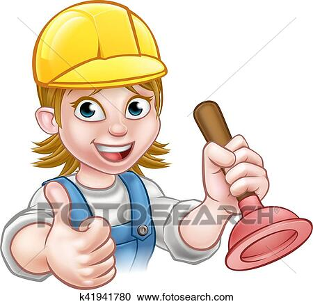 Female Cartoon Plumber Holding Plunger Clipart K41941780 Fotosearch