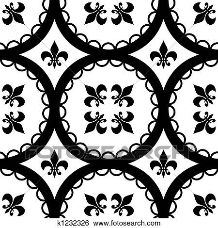 A Ttleable Fleur De Lis And Circle Pattern
