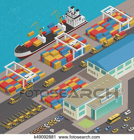 Freight Barge Harbor Wharf Isometric Clipart | k49092881 ...