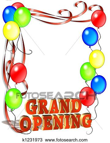 drawing of grand opening balloons template k1231973 search clipart rh fotosearch com  free clipart grand opening sign
