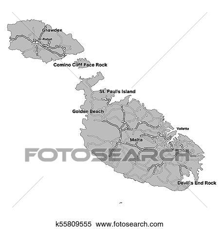 Malta Isla Vector Mapa Clipart K55809555 Fotosearch