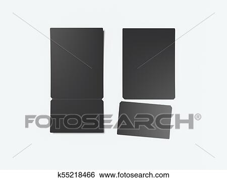 stock illustration of two black tear off tickets 3d rendering
