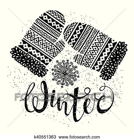 冬 テキスト そして 編まれる 毛織りである ミトン で