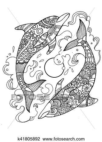 Clipart Delfin Ausmalbilder Für Erwachsene Vektor K41805892