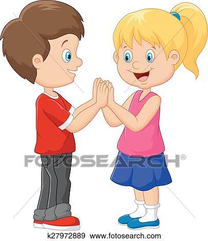 Clipart dessin anim enfants main jeu applaudissant - Dessin main enfant ...
