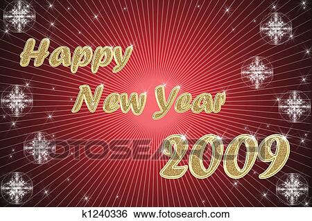happy new year golden text on red background with stars