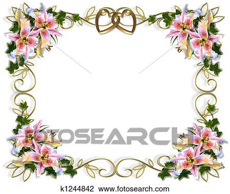 Clip Art Lilie Blumen Hochzeitskarten K1244842 Suche Clipart
