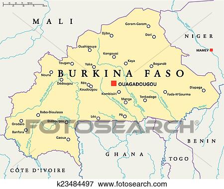 Clip Art of Burkina Faso Political Map k23484497 - Search Clipart ...