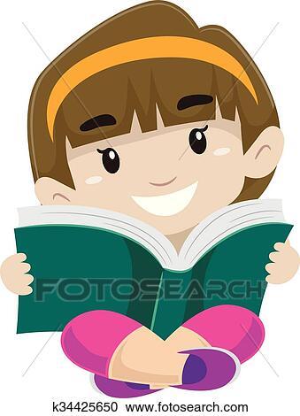 clipart criança lendo um livro k34425650 busca de ilustrações