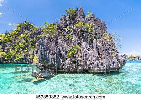 Famous Lime Rocks Of Coron Island Busuanga Palawan